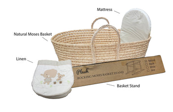 Natural Moses Basket & Linen Set MB09 - BEIGE/Elephant