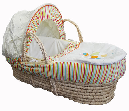 Natural Moses Basket & *Super Soft* Linen Set MB13 - Multi Stripes/Happy Cow (Stand is not included) - Babyonline