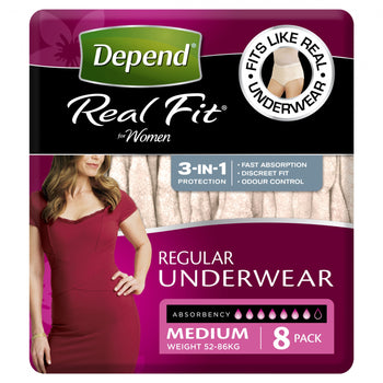 Depend® Real-Fit Underwear for Women - Medium pack of 8 pcs - Babyonline