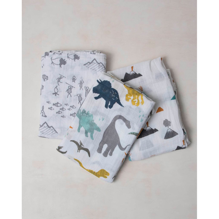 Little Unicorn 3 Pack Cotton Muslin Swaddle - Dino Friends