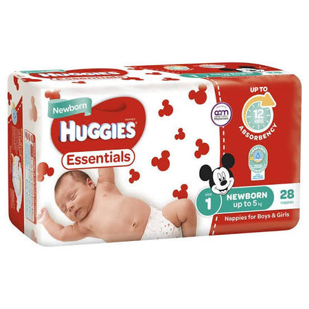 Huggies ESSENTIALS Pack - Size 1 (up to 5 kg) 28 Nappies - Babyonline