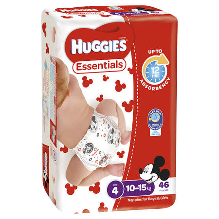 Huggies ESSENTIALS Pack - Size 4 (10-15 kg) 46 Nappies - Babyonline