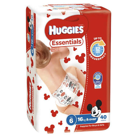 Huggies ESSENTIALS Pack - Size 6 (16kg & over) 40 Nappies - Babyonline