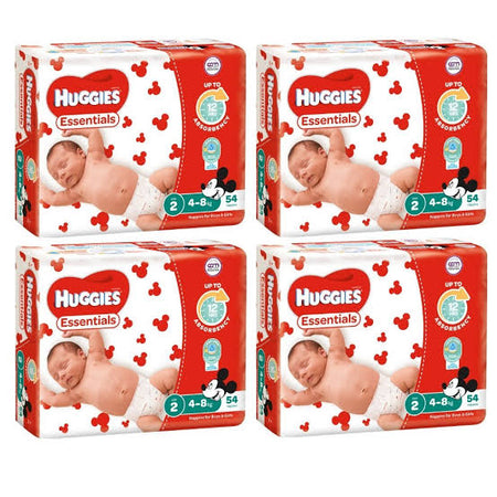 Huggies ESSENTIALS VALUE BOX - Size 2 (4-8 kg) 216 Nappies - Babyonline