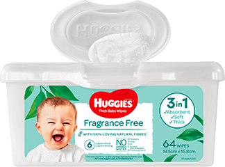 Huggies Baby Wipes Fragrance-Free Pop-Tub 64s