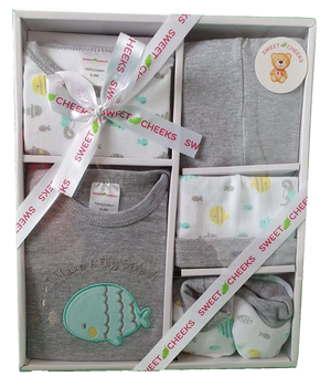 Sweet Cheeks 5 Piece Clothing Gift Set - GREY FISH - Babyonline