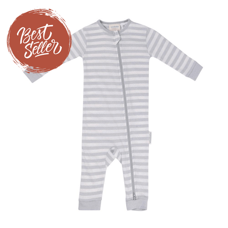Woolbabe Merino/Organic Cotton PJ Suit - PEBBLE