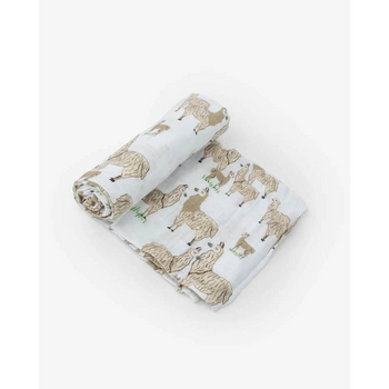 Little Unicorn Single Muslin Swaddle - Llama