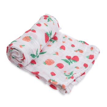 Little Unicorn Single Muslin Swaddle - Strawberry