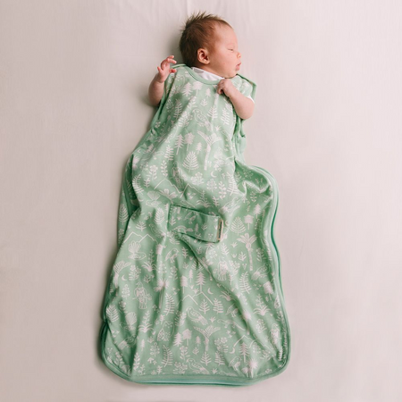 Woolbabe MINI DUVET 0-9 Months Side Zip Sleeping Bag - MOSS WILDERNESS