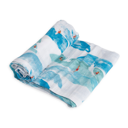 Little Unicorn Single Muslin Swaddle - Surf