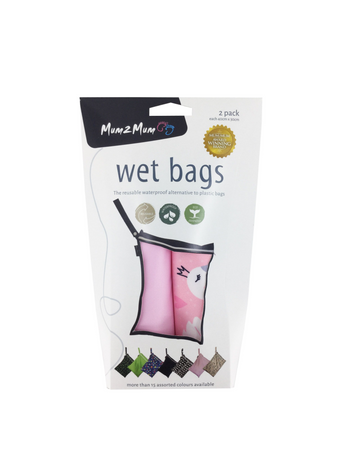 Mum2Mum Wet Bags Twin Pack - SWAN / PINK