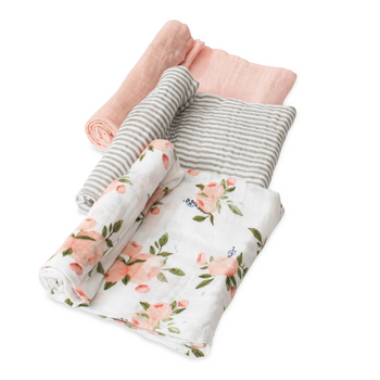 Little Unicorn 3 Pack Cotton Muslin Swaddle - Watercolour Roses