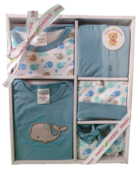 Sweet Cheeks 5 Piece Clothing Gift Set - BLUE-GREEN WHALE