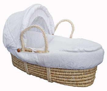 Natural Moses Basket & Linen Set MB01 - White Waffle