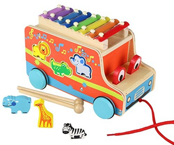Wooden Multi-functional Pull-Along Bus