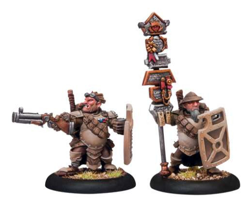 Privateer Press Warmachine: (Mercenaries) High Shield Gun Corps Officer & Standard Bearer