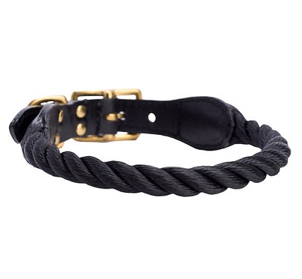Black Rope and Leather Collar