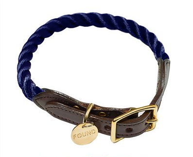 Navy Rope and Leather Collar