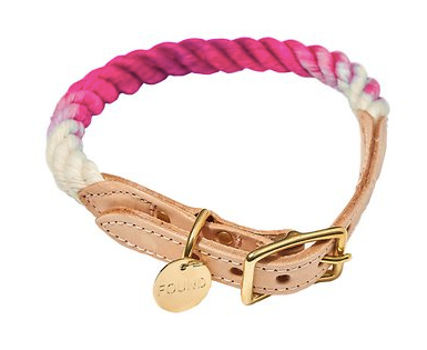 Magenta Ombre Rope and Leather Collar