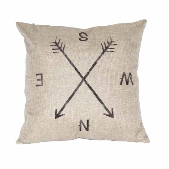Pillow - Compass Linen Throw Pillow
