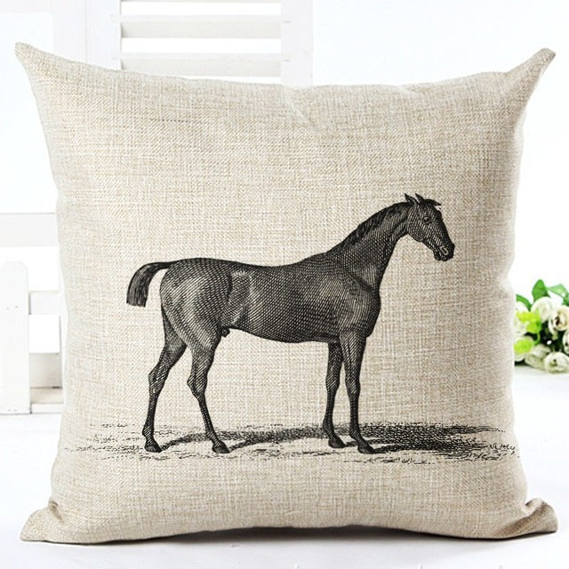 Thoroughbred Vintage Linen Pillow