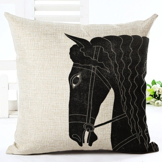 Black Stallion Vintage Linen Pillow