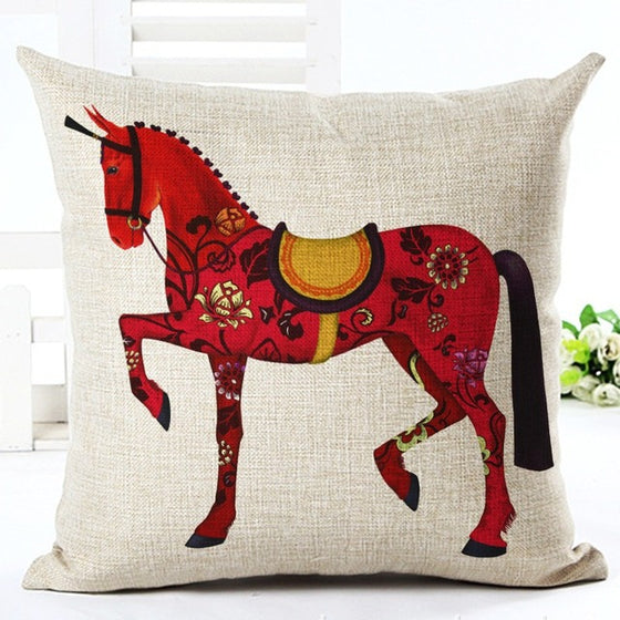 Fire Horse Vintage Linen Pillow