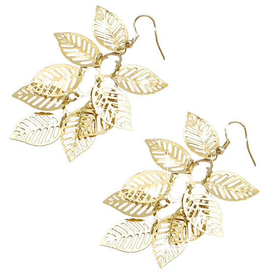 Gold Tassel Leaf Earrings