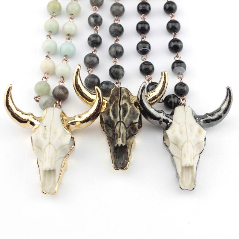 Horn & Skull Pendant Necklace