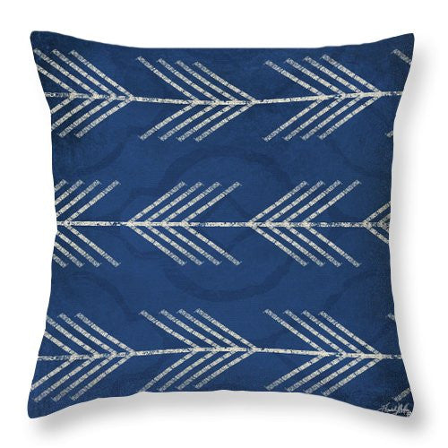 Blue Arrows Throw Pillow
