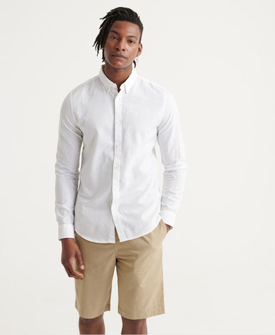 Superdry Edit Linen Button LS Shirt Vivid White