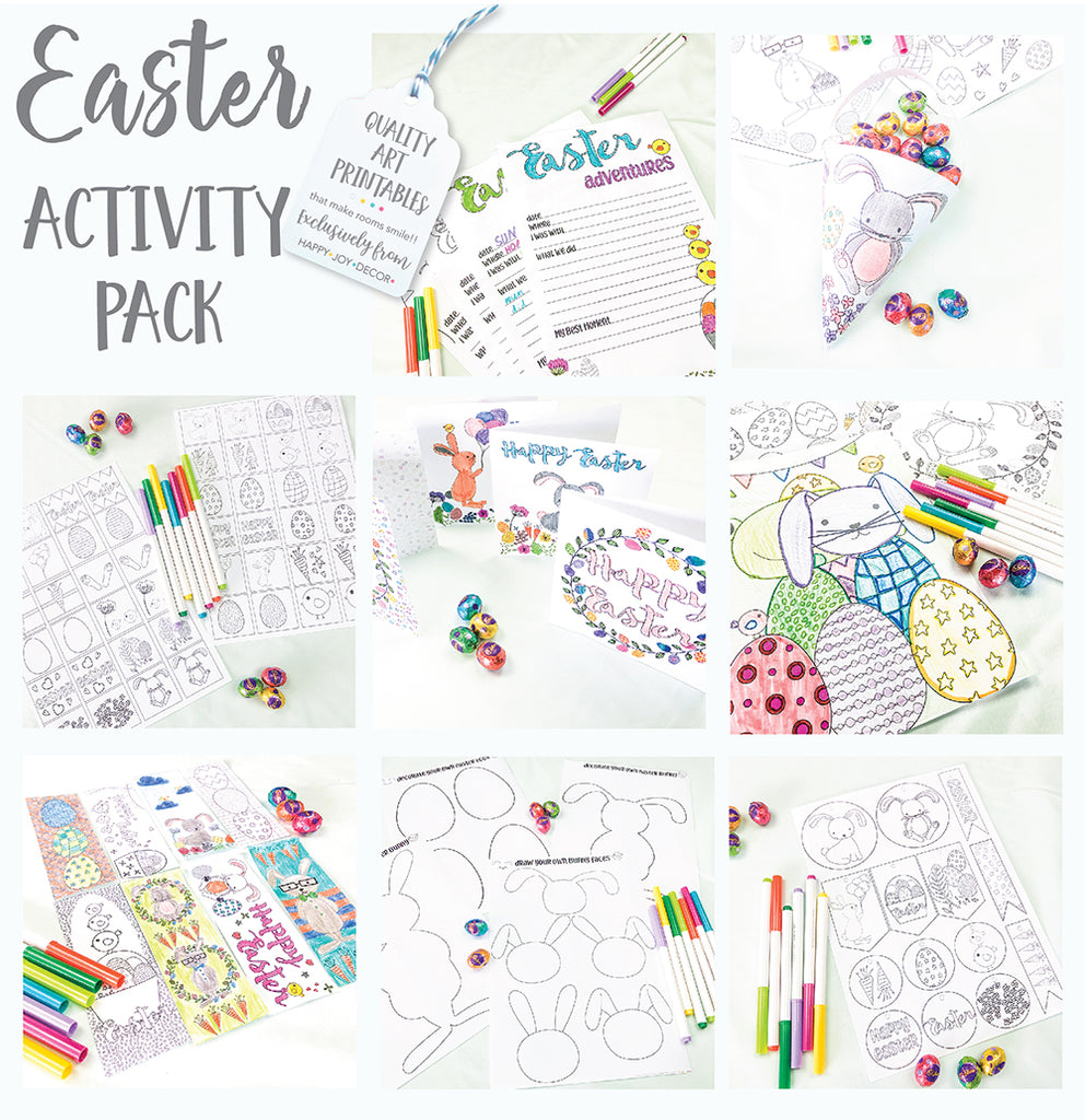 Kids printable Easter colouring & DIY activity pack.