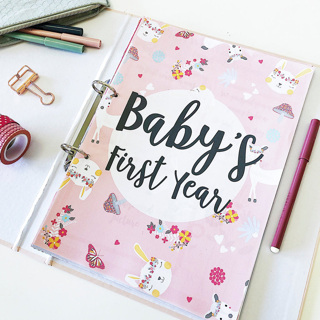 Baby girl's first year printable journal