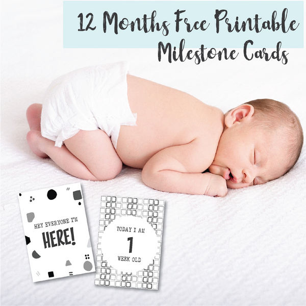 FREE 12 months printable monochrome milestone cards. A perfect gender neutral option, a great baby shower gift idea & new mum mom gift idea. Plus bonus 50 newborn baby photo ideas to create perfect memories.