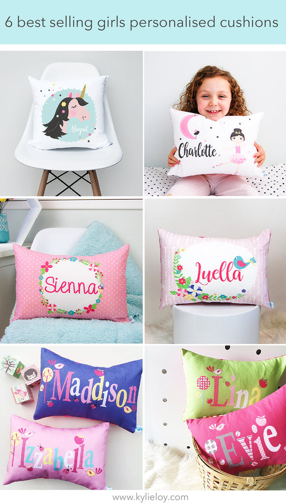 6 best girls personalised birth cushions