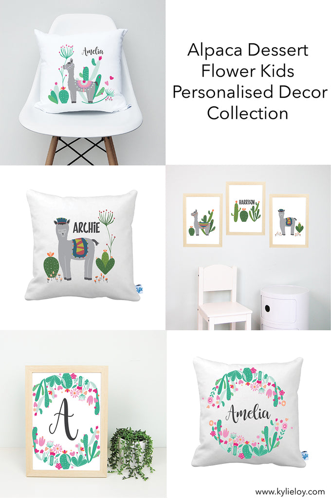 alpaca and dessert flowers kids bedroom decor collection