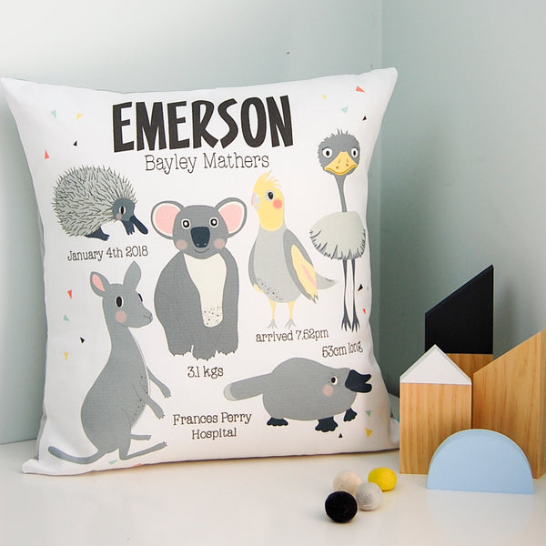 Australian animal personalised birth cushion