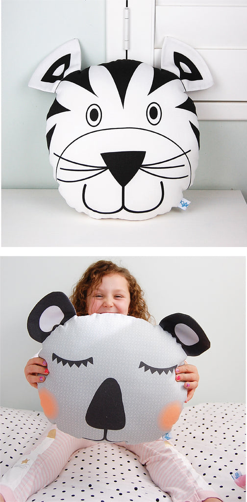Black and white kids monochrome personalised cushions