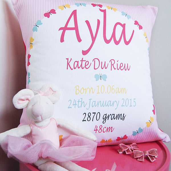 personalised birth cushions for newborns