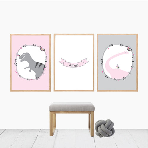 girls dinosaur personalised print set