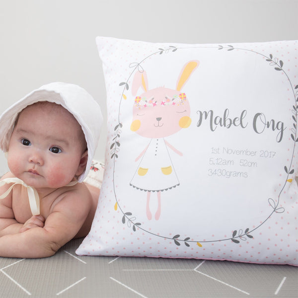 girls bunny personalised birth cushions