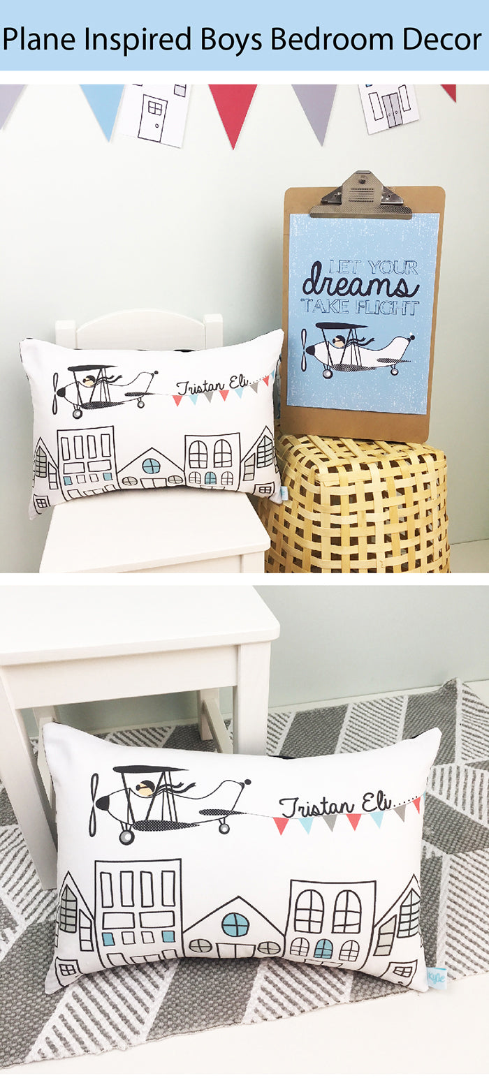 boys plane inspired personalised bedroom decor