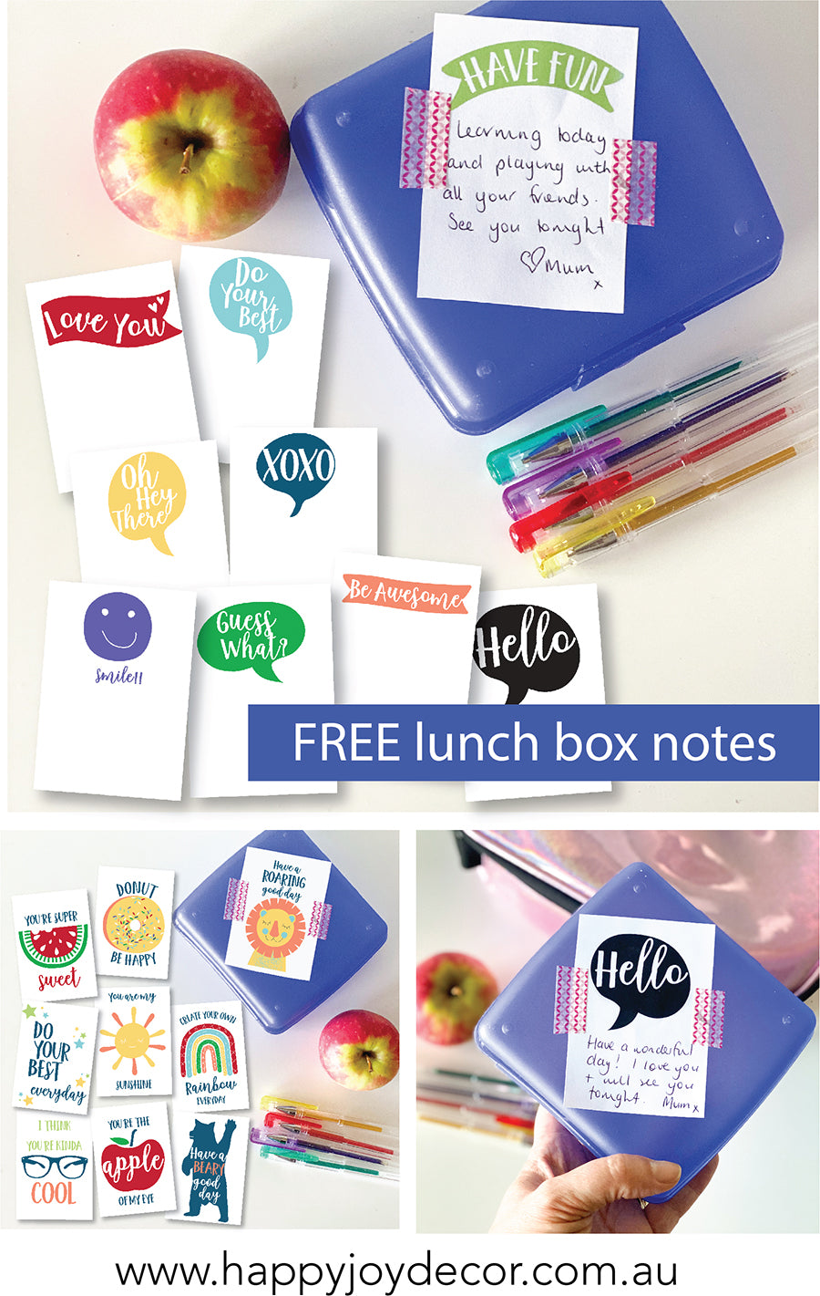Free school personalised lunch box notes - Happy Joy Decor