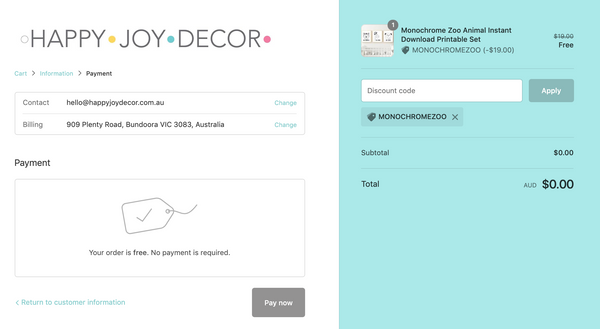 how to download an instant download printable from Happy joy decor