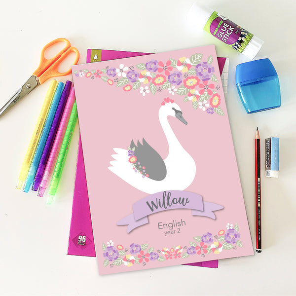 Swan Printable Personalised Book Covers - Happy Joy Decor