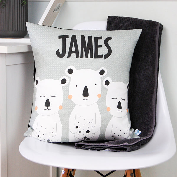 boys bear personalised cushion