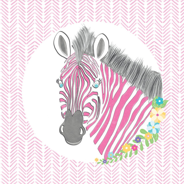 girls zebra bedroom cushion illustrations