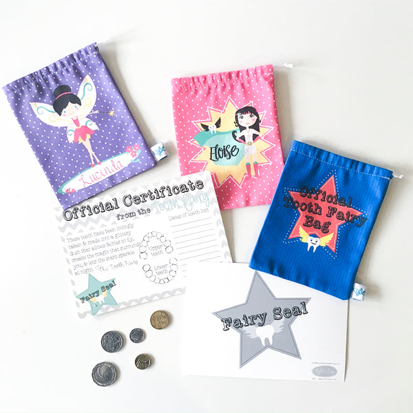 kids personalised tooth fairy bags