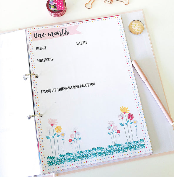 Baby girls first year printable journal - boho floral design - Happy Joy Decor